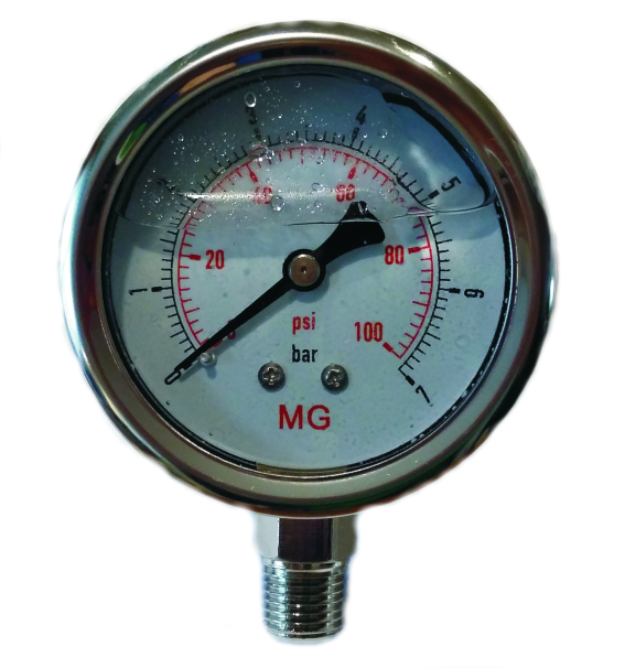 Manometr glycerin 42mm spodní  0-100psi 0-7 bar